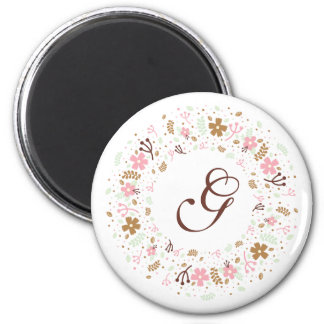 Personalized Monogram Girly Floral Wreath Magnet