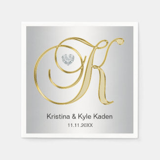 Personalized Monogram Gold Letter K Silver Wedding Paper Napkins