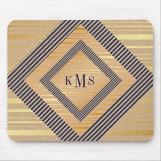 Personalized Monogram Golden Nautical Mousepad