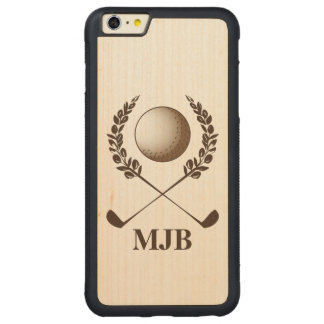 Personalized Monogram Golf Crest Carved® Maple iPhone 6 Plus Bumper Case