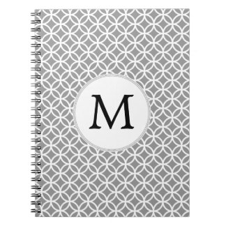 Personalized Monogram Gray rings pattern Note Books