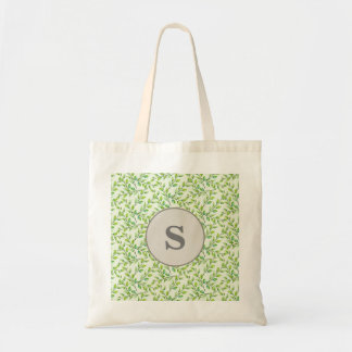 Personalized Monogram Green Leaves and Branches Tote Bag