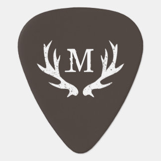 Personalized monogram guitar pick with deer antler