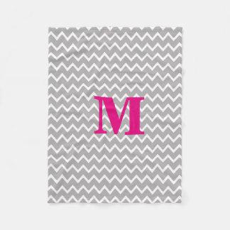 Personalized Monogram Hot Pink Grey Gray Chevron Fleece Blanket