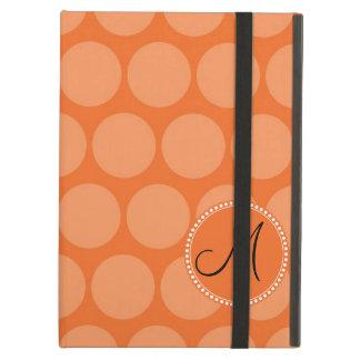 Personalized Monogram Initial Orange Polka Dots iPad Air Covers