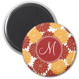 Personalized Monogram Initial Orange Red Flowers 6 Cm Round Magnet