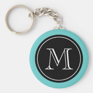 Personalized monogram keychain | Turquoise black