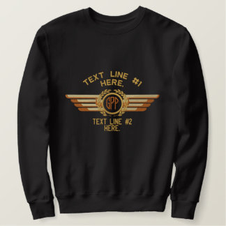 Personalized Monogram Laurels Badge Pilot Wings Embroidered Sweatshirt
