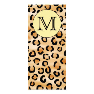 Personalized Monogram Leopard Print Pattern. 10 Cm X 23 Cm Rack Card