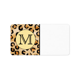 Personalized Monogram Leopard Print Pattern. Address Label