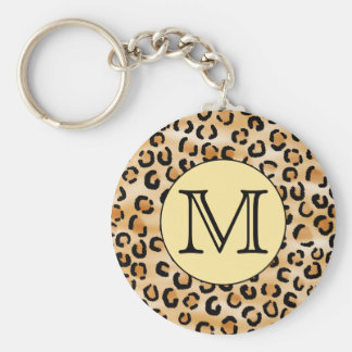Personalized Monogram Leopard Print Pattern. Basic Round Button Key Ring