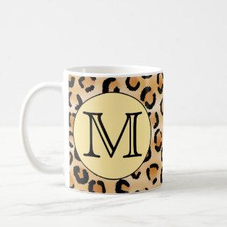 Personalized Monogram Leopard Print Pattern. Basic White Mug