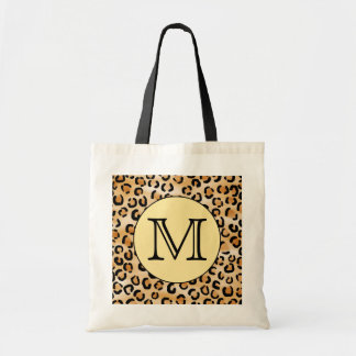 Personalized Monogram Leopard Print Pattern. Budget Tote Bag