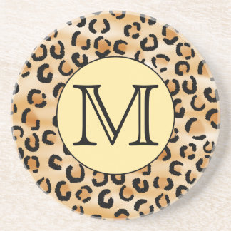 Personalized Monogram Leopard Print Pattern. Beverage Coasters