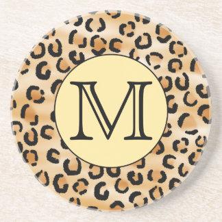 Personalized Monogram Leopard Print Pattern. Beverage Coasters