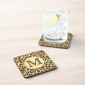 Personalized Monogram Leopard Print Pattern. Coasters
