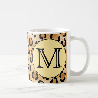 Personalized Monogram Leopard Print Pattern. Coffee Mugs