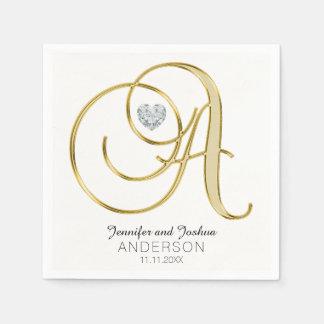 Personalized Monogram Letter 'A Gold White Wedding Disposable Serviette