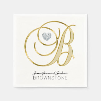 Personalized Monogram Letter B Gold White Wedding Disposable Serviettes