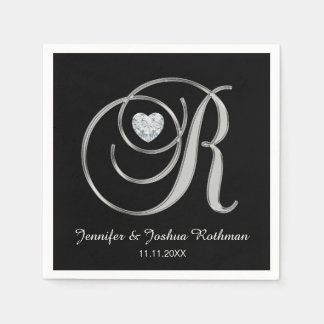 Personalized Monogram Letter R White Wedding Disposable Napkins