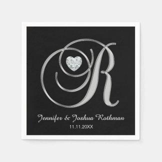 Personalized Monogram Letter R White Wedding Disposable Serviette