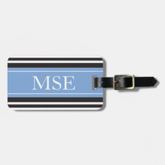 Personalized Monogram Light Blue Black Stripes Bag Tag