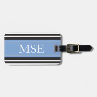 Personalized Monogram Light Blue Black Stripes Luggage Tags