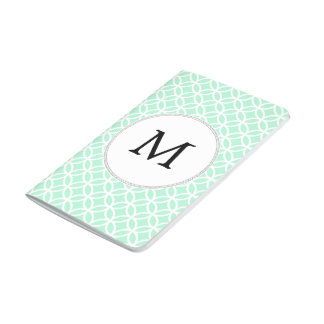 Personalized Monogram Mint double rings pattern Journals