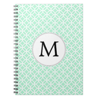 Personalized Monogram Mint double rings pattern Note Book