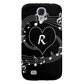Personalized Monogram Musical notes heart Galaxy S4 Covers