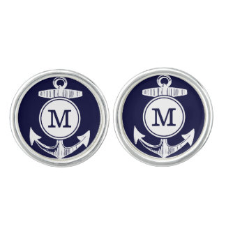 Personalized Monogram Nautical Navy Anchor Pattern Cuff Links