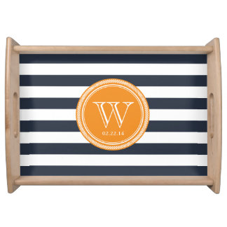 Personalized Monogram Navy and Orange Striped Serving Platter
