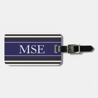 Personalized Monogram Navy Black Stripes Pattern Tag For Bags