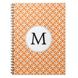 Personalized Monogram Orange double rings pattern Note Book