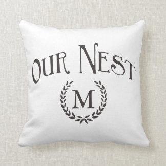 Personalized Monogram Our Nest Pillow Farmhouse