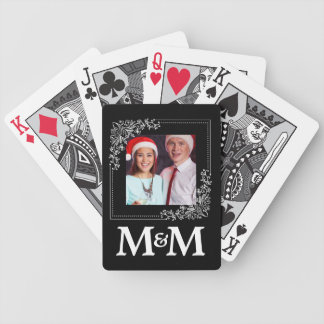 Personalized Monogram Photo B&W Wedding Favor Bicycle Playing Cards