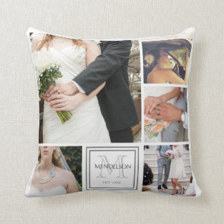 Personalized monogram photo collage cushion