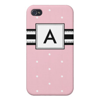 Personalized Monogram Pink Polka Dot Case For iPhone 4
