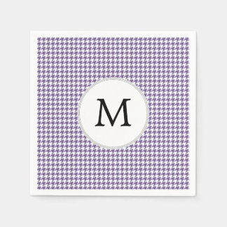 Personalized Monogram Purple Houndstooth Pattern Disposable Serviettes