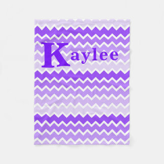 Personalized Monogram Purple Lavender Chevron Girl Fleece Blanket