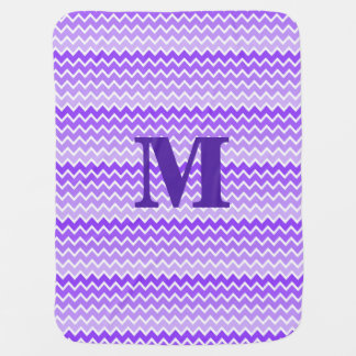 Personalized Monogram Purple Ombre Chevron Baby Blanket