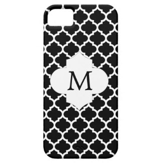 Personalized Monogram Quatrefoil Black and White iPhone 5 Covers