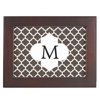 Personalized Monogram Quatrefoil Brown and White Memory Box