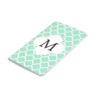 Personalized Monogram Quatrefoil Mint and White Journals