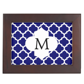 Personalized Monogram Quatrefoil Navy and White Memory Box