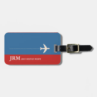 personalized monogram red & blue / airplane travel luggage tag