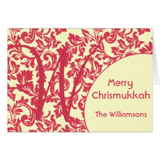 Personalized & Monogram Red Damask Chrismukkah Card