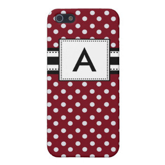 Personalized Monogram Red Polka Dots iPhone 5/5S Covers