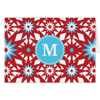 Personalized Monogram Red Teal Blue Star Pattern Card