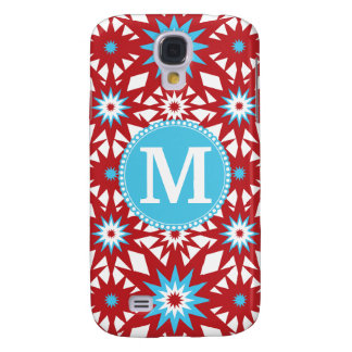 Personalized Monogram Red Teal Blue Star Pattern Samsung Galaxy S4 Cases
